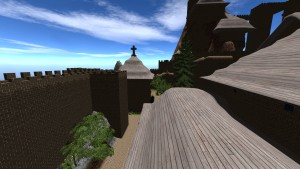 A Medieval voxel castle in Brutal Nature with a church and many other buildings
