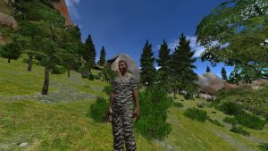 Military dressed NPC standing in a forest