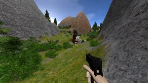 Player shooting up a black bear with MAC-10