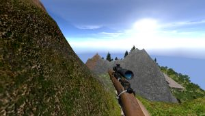 Sniper rifle looking at boar on cliff