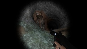 Grizzly bear in a tunnel
